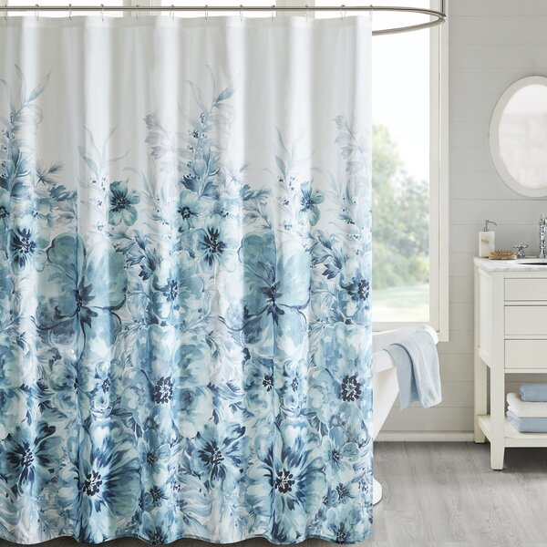 Teegan Floral 100% Cotton Shower Curtain by House of Hampton